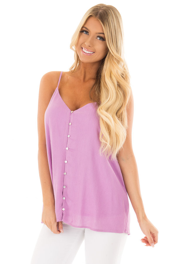 Lavender Button Up Tank Top front close up