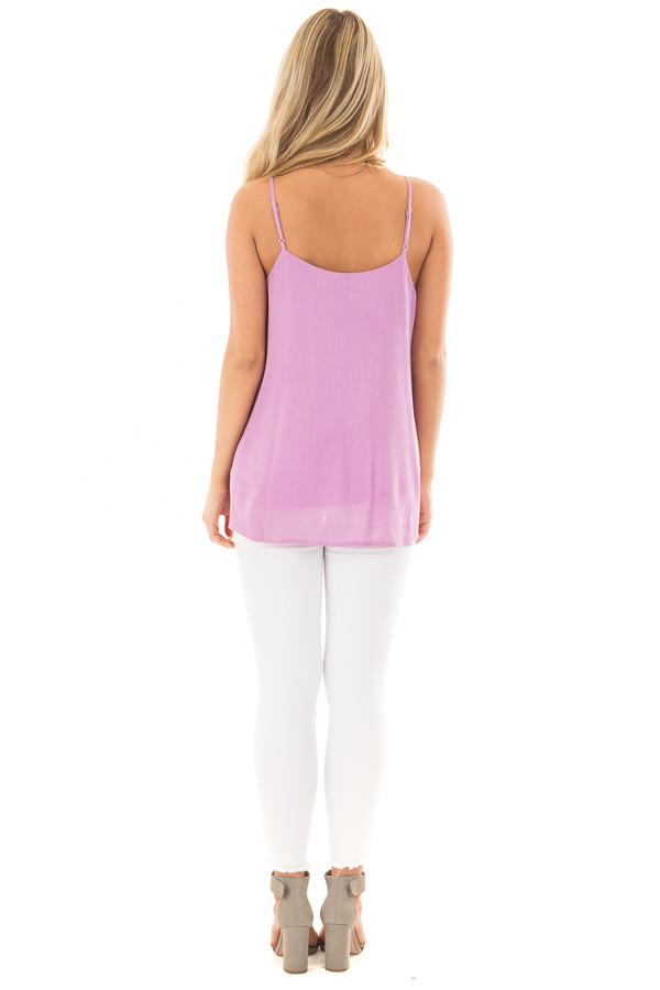 Lavender Button Up Tank Top back full body