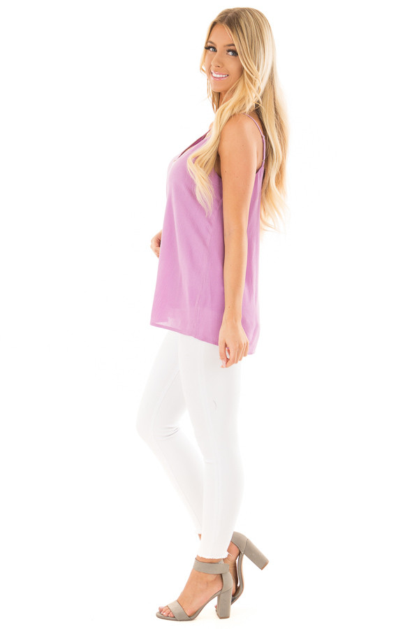 Lavender Button Up Tank Top side full body