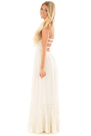 Ivory Backless Dress with Tiered Hemline side full body