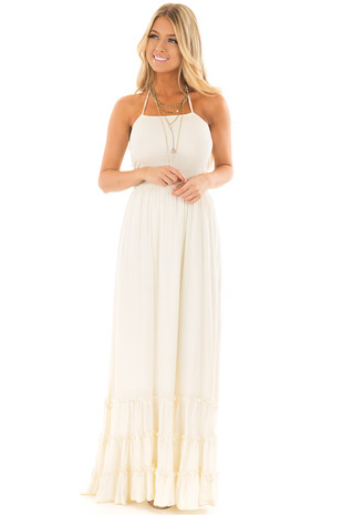 Ivory Backless Dress with Tiered Hemline front full body