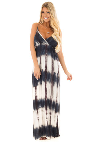 Deep Teal Tie Dye Spaghetti Strap Maxi Dress front full body