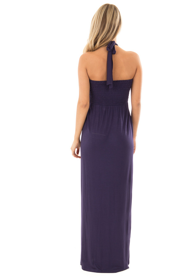 Navy Halter Maxi Dress back full body