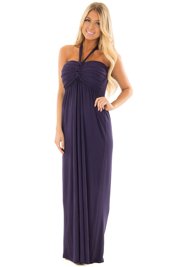 Navy Halter Maxi Dress front full body
