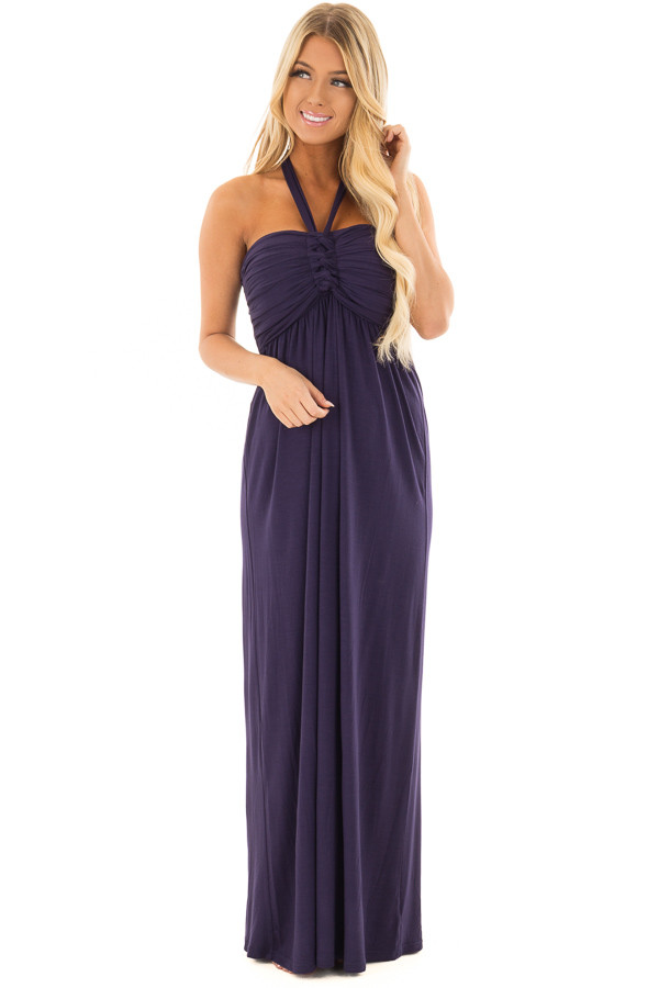 Navy Halter Maxi Dress front close up