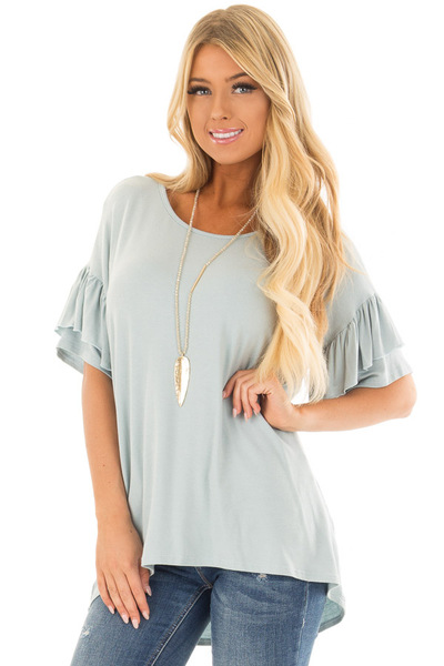 Dusty Blue Ruffle Short Sleeve Top front close up