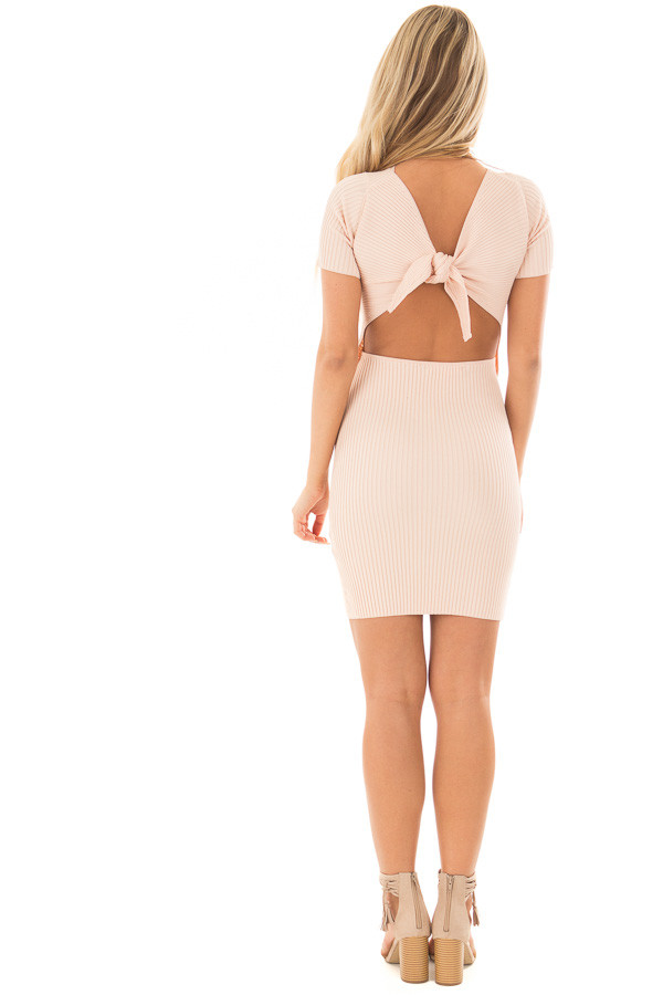Blush Ribbed Bodycon Dress with Open Tie Back back full body