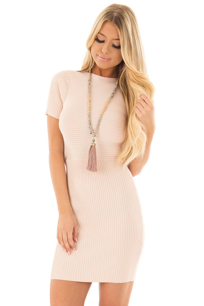 Blush Ribbed Bodycon Dress with Open Tie Back front close up