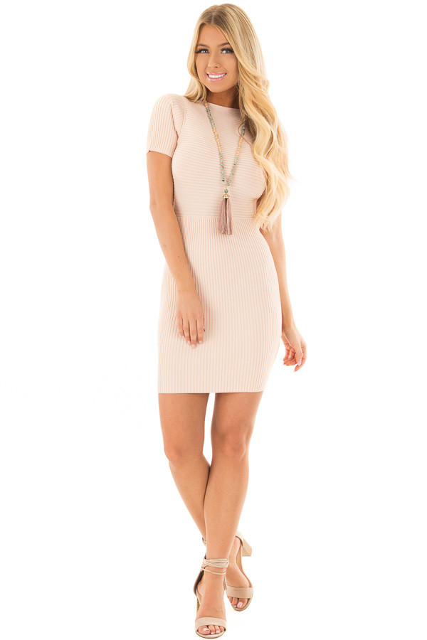 Blush Ribbed Bodycon Dress with Open Tie Back front full body