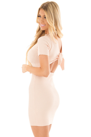 Blush Ribbed Bodycon Dress with Open Tie Back side close up