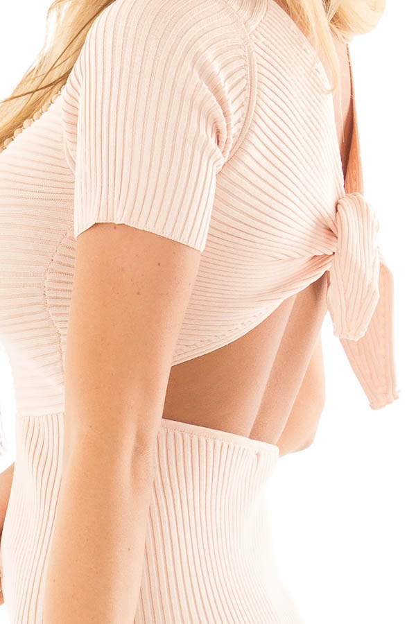 Blush Ribbed Bodycon Dress with Open Tie Back detail