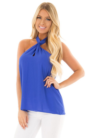 Royal Blue High Cross Neck Blouse with Keyhole Cutout front close up