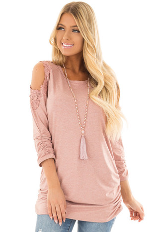 Dusty Rose Soft Cold Shoulder Tunic with Elastic Sides front close up