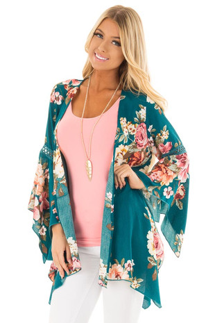 Teal Floral Print Flowy Kimono with Crochet Details front close up