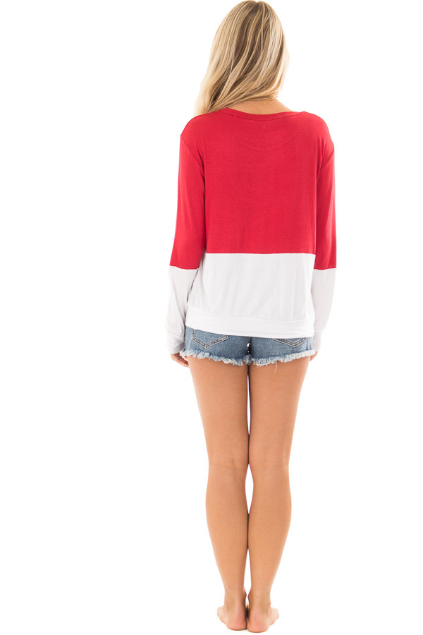 Red and White Color Block Top with Kangaroo Pocket back full body
