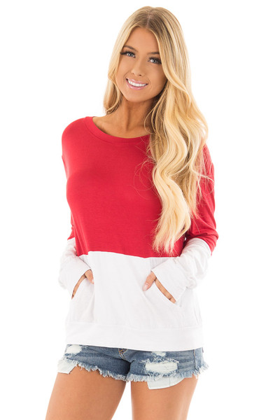 Red and White Color Block Top with Kangaroo Pocket front full body