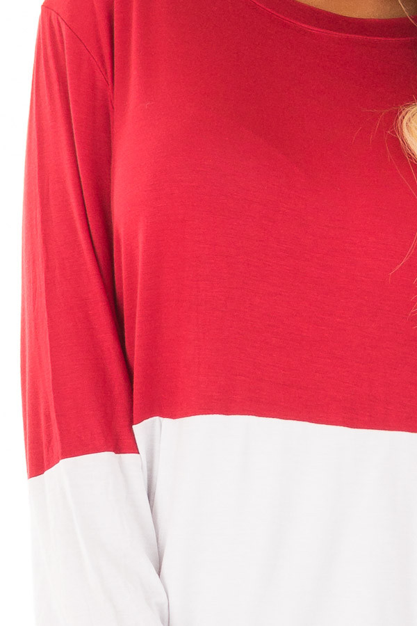 Red and White Color Block Top with Kangaroo Pocket detail