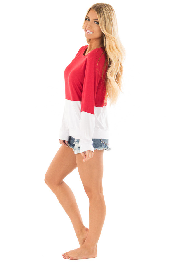 Red and White Color Block Top with Kangaroo Pocket side full body