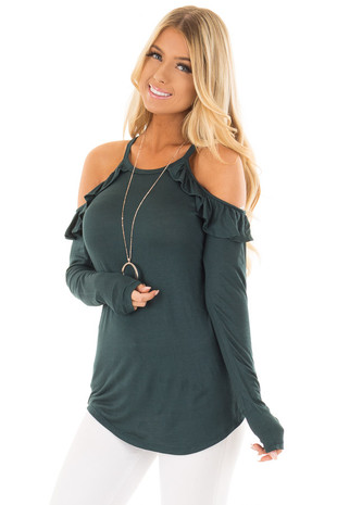 Hunter Green Ruffle Cold Shoulder Top front close up
