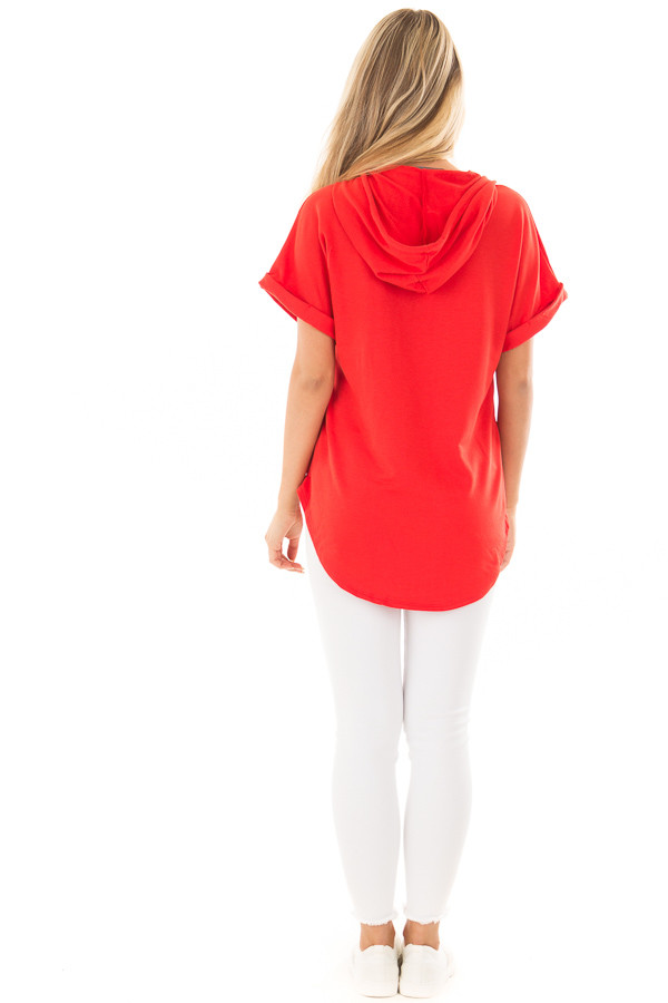 Cherry Red Short Sleeve Hooded Top with Kangaroo Pocket back full body