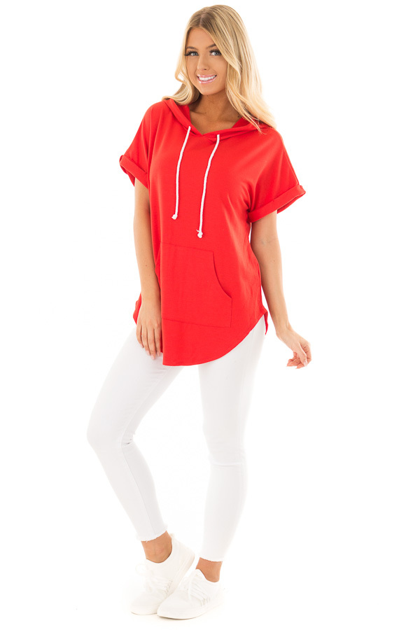 Cherry Red Short Sleeve Hooded Top with Kangaroo Pocket front full body
