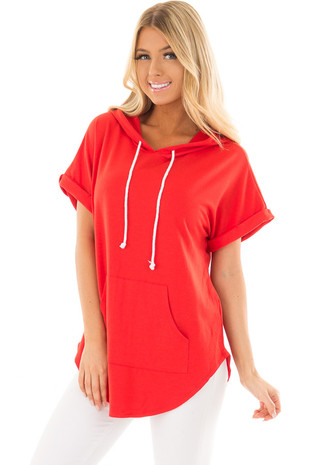 Cherry Red Short Sleeve Hooded Top with Kangaroo Pocket front close up