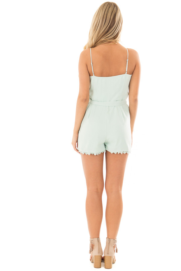 Mint Half Button Up Romper with Waist Tie Detail back full body