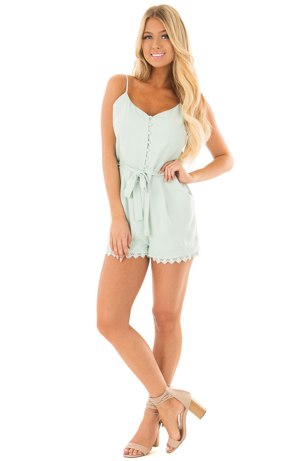 Mint Half Button Up Romper with Waist Tie Detail front full body