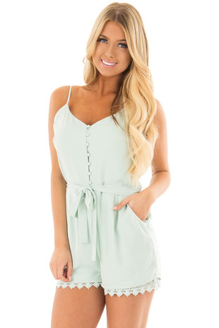 Mint Half Button Up Romper with Waist Tie Detail front close up