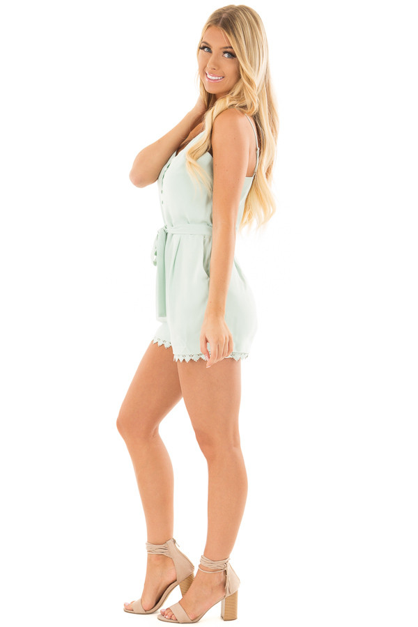 Mint Half Button Up Romper with Waist Tie Detail side full body