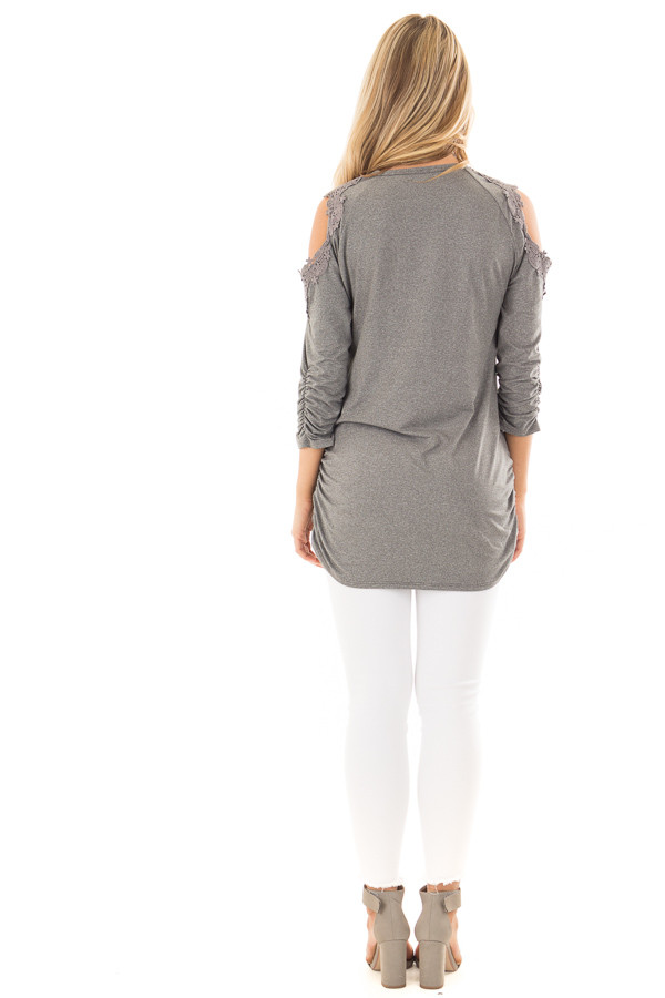 Charcoal Soft Cold Shoulder Tunic with Elastic Sides back full body