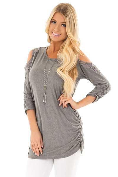 Charcoal Soft Cold Shoulder Tunic with Elastic Sides front close up