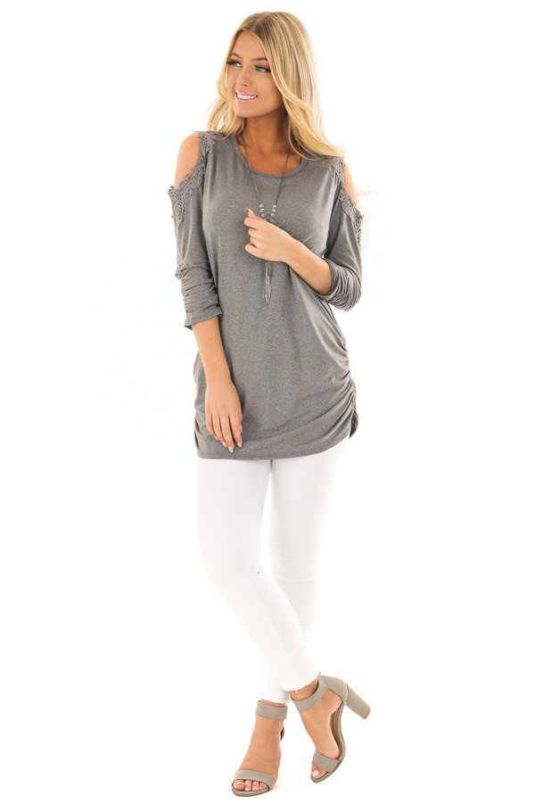 Charcoal Soft Cold Shoulder Tunic with Elastic Sides front full body