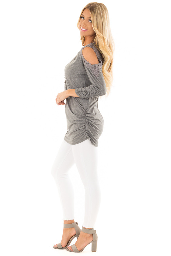 Charcoal Soft Cold Shoulder Tunic with Elastic Sides side full body
