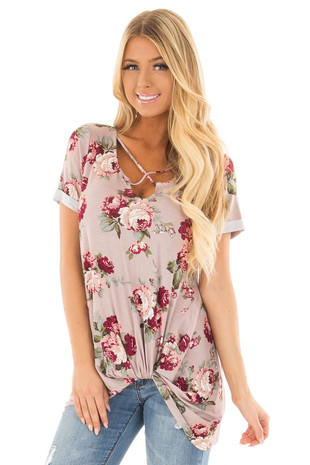 Coco Floral Print Top with Front Twist and X Neck front close up