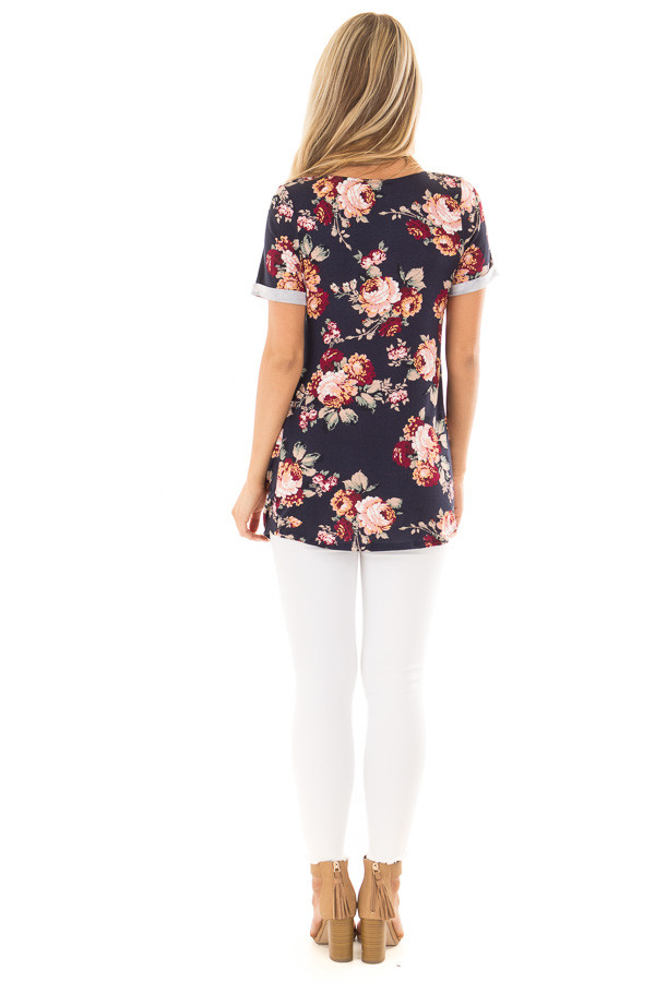 Navy Floral Print Top with Front Twist and X Neck back full body