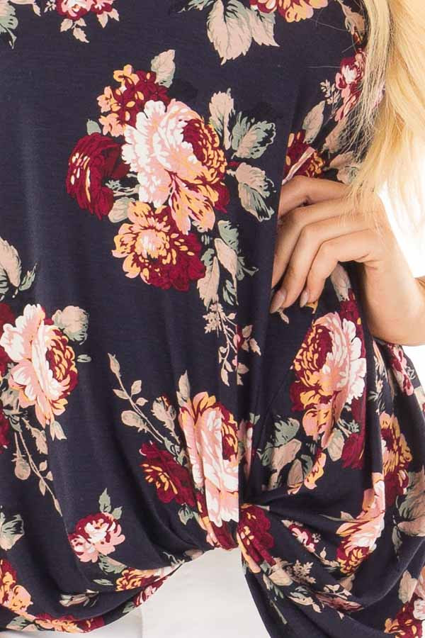 Navy Floral Print Top with Front Twist and X Neck detail