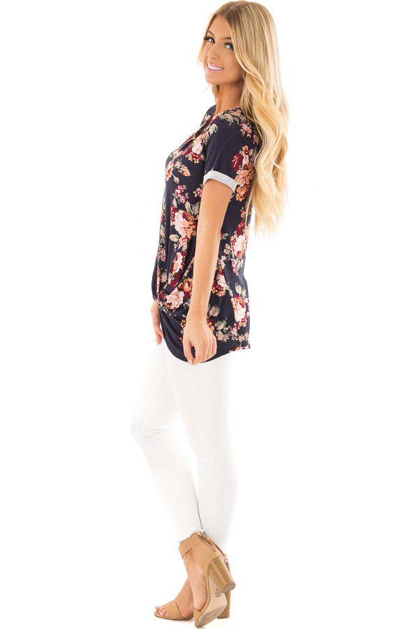 Navy Floral Print Top with Front Twist and X Neck side full body