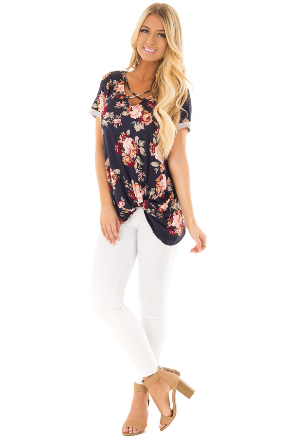 Navy Floral Print Top with Front Twist and X Neck front full body