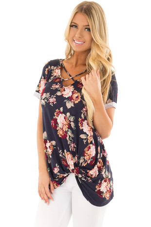 Navy Floral Print Top with Front Twist and X Neck front close up