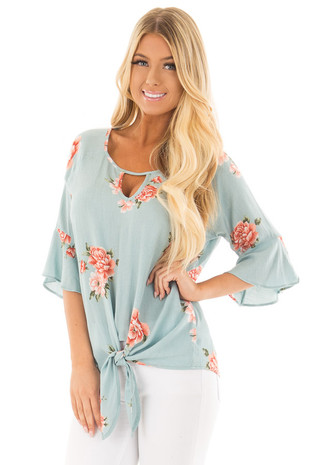 Sky Blue Floral Print Bell Sleeve Top with Front Tie Detail front close up