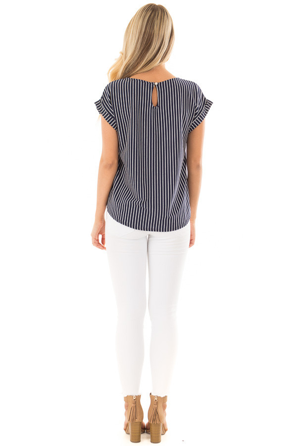 Navy Stripe Top with Front Tie Detail back full body