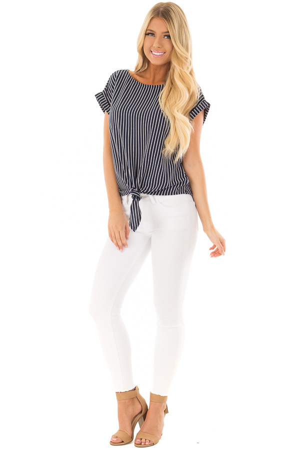 Navy Stripe Top with Front Tie Detail front full body