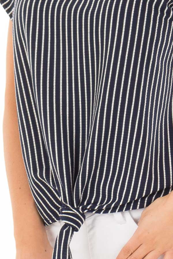 Navy Stripe Top with Front Tie Detail detail