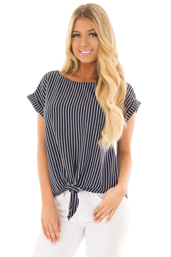 Navy Stripe Top with Front Tie Detail front close up