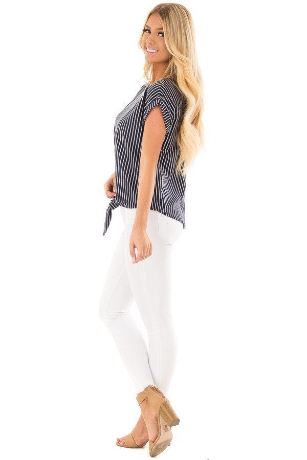 Navy Stripe Top with Front Tie Detail side full body