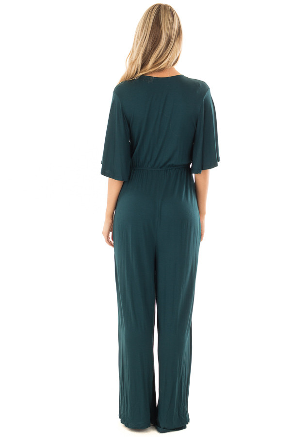 Hunter Green Crossover Flowy Sleeve Jumpsuit back full body