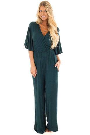 Hunter Green Crossover Flowy Sleeve Jumpsuit front full body