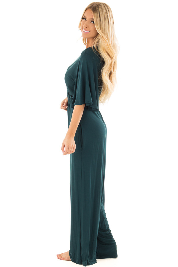Hunter Green Crossover Flowy Sleeve Jumpsuit side full body