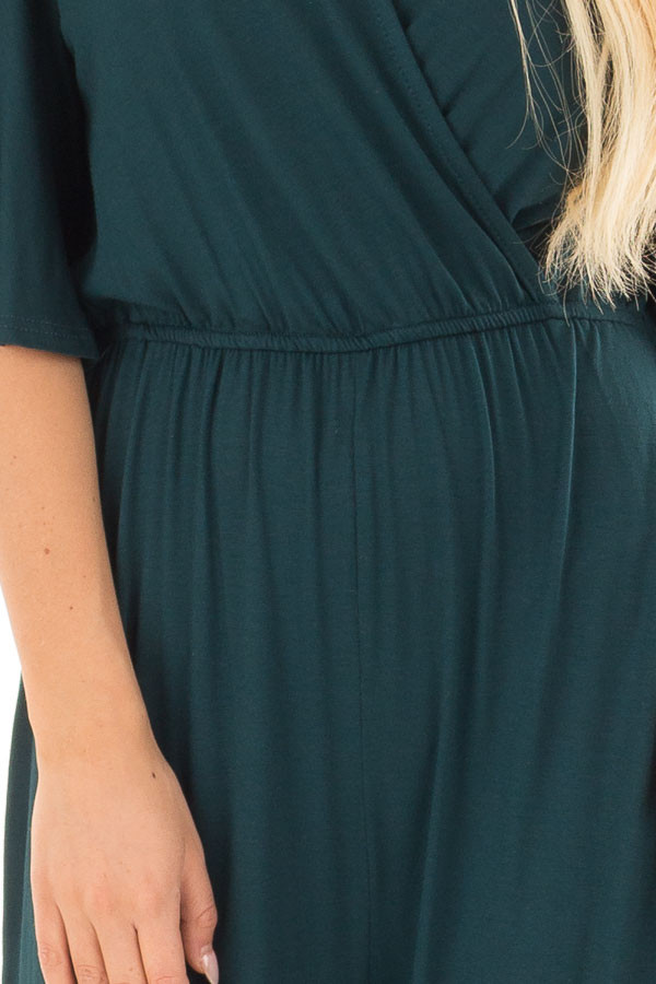 Hunter Green Crossover Flowy Sleeve Jumpsuit detail